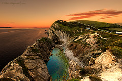 Stair Hole (Pete 5D...©...) Tags: dorset stairhole engalnd jurassic coast dusk evening sunset sunrise sea ocean lagoon blue rock formation sky clear cloud clouds orange stair hole lulworth purbecks path pathway walkway turquoise azure