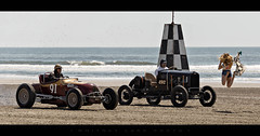 Jump Start (Whitney Lake) Tags: checkeredflag girl automobiles cars antique classic hotrods waves atlantic ocean jerseyshore beach newjersey wildwoods 2017 theraceofgenrlemen trog