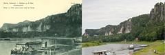 Vergleich_Ansichtskarte_Rathen_1928-2017 (Veit Schagow) Tags: vergleich comparison kurortrathen rathen saxonyswiss saeschischeschweiz elbe elbsandsteingebirge vergleichsfoto 1928 2017 bastei