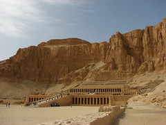 Mortuary temple of Hatshepsut (Sparky the Neon Cat) Tags: africa west temple egypt bank el cliffs luxor hatshepsut mortuary deir bahari elbahara
