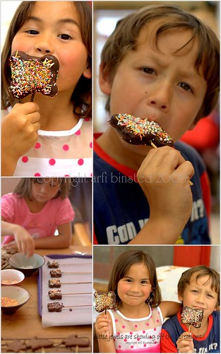 Children with their Chocolate Biscuits creations