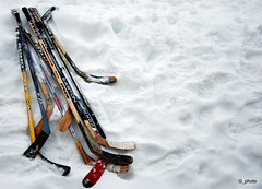The tools (Vanna_) Tags: winter snow game ice hockey fun nikon quebec hiver neige glace jeu hockeystick d80