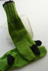 Black and Lime Tabi Socks. 85% wool, 15% mohair. Hand knit by twiddletoes.