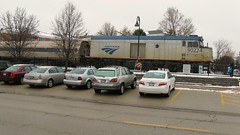 Northbound Amtrak Hiawatha departing Glenview Illinois. January 2010.