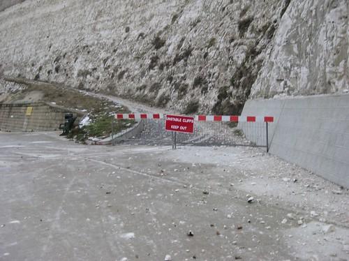 closed unstable cliffs
