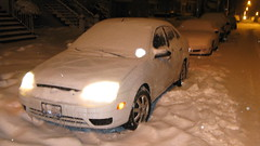 Starting a car at 5:00 AM after a heavy lake effect snowstorm. Elmwood Park Illinois. January 2010.