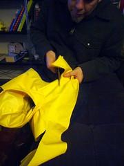 Raincoat alterations (lili.chin) Tags: bostonterrier boogie raincoat