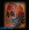 sugar skull (Billy Whaley Tattoo) Tags: new old flowers school roses woman cute tattoo ink stars dead skull idea back los cool pretty day kentucky traditional badass butterflies indiana peony sugar medical mexican lilly albany muertos billy louisville nurse pigtails custom girlie daisey asgard whaley