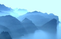 Every day is a mountain (Dada Mar) Tags: blue sea mountains beautiful fog island spain peaceful mallorca greatview