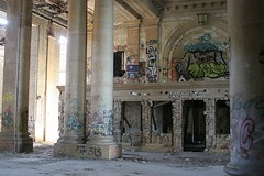 Michigan Central Station Arcade (stormdog42) Tags: railroad abandoned station graffiti michigan interior detroit arcade columns urbanexploration neoclassical 1913 urbanadventure urbex beauxarts urbanruin michigancentralstation