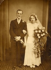 My parents' wedding (wonky knee) Tags: wedding 1931 confetti bouquet mumdad