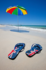 Australia (john white photos) Tags: holiday beach umbrella day australia thongs colourful 0912176885
