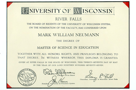 Mark Neumann's Master of Science in Education