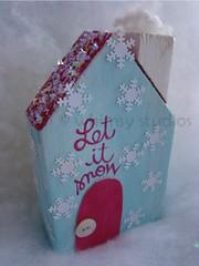 snowflakes house (Lori McDonough) Tags: pink original houses winter snow snowflakes aqua village collection blogged etsy crafty letitsnow decor whimsical winterdecor lorimcdonough