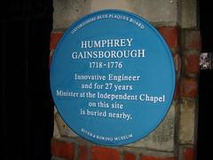 Photo of Humphrey Gainsborough blue plaque
