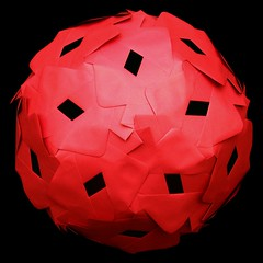 Red envelopes sphere (Nick Sayers) Tags: sculpture art craft sphere squaredcircle recycling geodesic