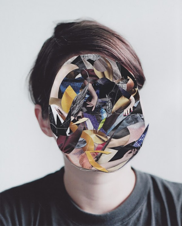 Debbie Tea collage mask artwork