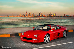 Ferrari Dreams (Part V) (Mishari Al-Reshaid Photography) Tags: city sunset red sea sky reflection cars car canon reflections cool italian flamingos ferrari exotic 1995 kuwait canondslr canoneos kuwaitcity sportscar sportscars gts carphotos carphotography 24105 355 canonef24105f4l gtm carphoto canoncamera canonphotos canoneflens 24105mm canonllens 40d mishari canonef24105f4lis kuwaitphoto kuwaitphotos 580exii canoneos40d canon40d kuwaitcars kvwc gtmq8 kuwaitvoluntaryworkcenter kuwaitvwc canon580exiiflash kuwaitphotography misharialreshaid malreshaid misharyalrasheed