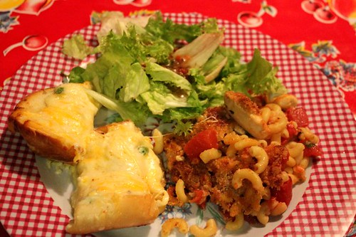 italian baked chicken, cheese bread and salad