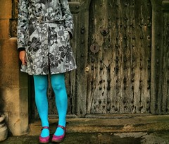 154/365 Old And Vibrant (me and the door) (sosij) Tags: chopper rivets tights doorway stmaryschurch oldwood hitchin backdoor rustyandcrusty churchdoor bluelegs rivetting goesintothevestry inmytowntoday stoppedmeshootingmyself ahhhdontyalovephotography orbelltower