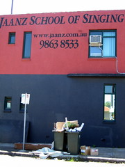 Jaanz school of singing and dumping crap on the footpath