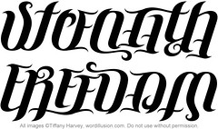 """Strength"" & ""Freedom"" Ambigram"
