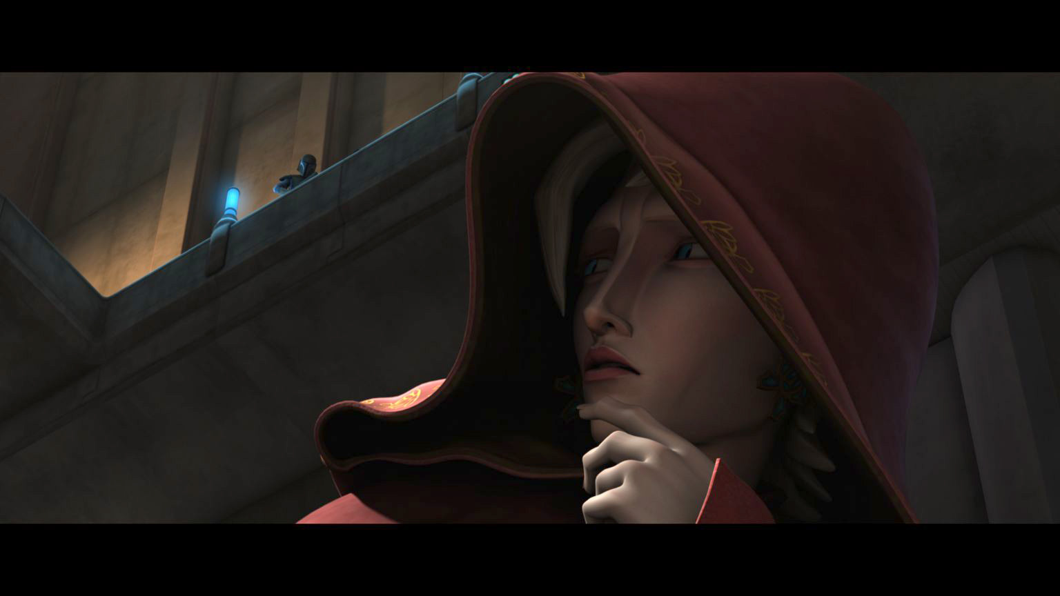 "Satine is pursued by a member of the mysterious Death Watch in ""Duchess of Mandalore,"" an all-new episode of STAR WARS: THE CLONE WARS premiering at 9:00 p.m. ET/PT Friday, February 12 on Cartoon Network. TM & © 2010 Lucasfilm Ltd. All rights reserved."