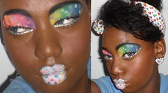 rainbow (SweetTooth Makeup) Tags: blue shadow red orange woman black green girl beautiful beauty yellow sparkles glitter female silver creativity rainbow eyes lashes eyelashes purple artistic african creative makeup lips sparkle american eccentric lipstick dots cosmetics eyeshadow sparkly eyeliner liner eyeshadows
