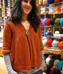 Irini is modelling her new jacket (sifis) Tags: wool canon knitting knit athens yarn greece jacket cardigan s90 handknitting alpaka  sakalak