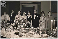 H.H Princess Ashraf Pahlavi In One Of Her Travel to Egypt, with King Farouk I Of Egypt & Other Egyptian Royal Family Members (Tulipe Noire) Tags: family king iran princess sister egypt middleeast royal persia farouk queen cairo 1940s banquet shah farida ashraf pahlavi fawzia