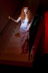 Lauren Randolph (laurenlemon) Tags: red portrait stairs caitlin ginger candle apartment creative redhead february scared conceptual redhair creep valentinesday momsbirthday nightgown 2010 canoneos5dmarkii laurenrandolph caitlinrandolph laurenlemon shouldawornshoes wwwphotolaurencom
