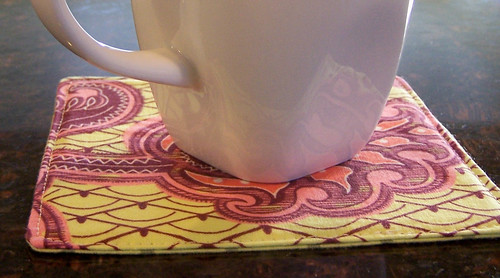 Fabric coaster with coffee cup