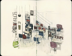 Waiting (Wil Freeborn) Tags: moleskine caf sketch glasgow journal bookstore bookshop waterstones