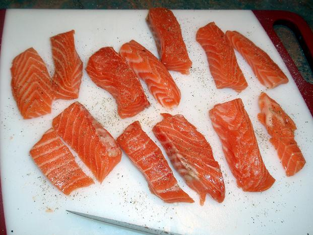 cut the salmon