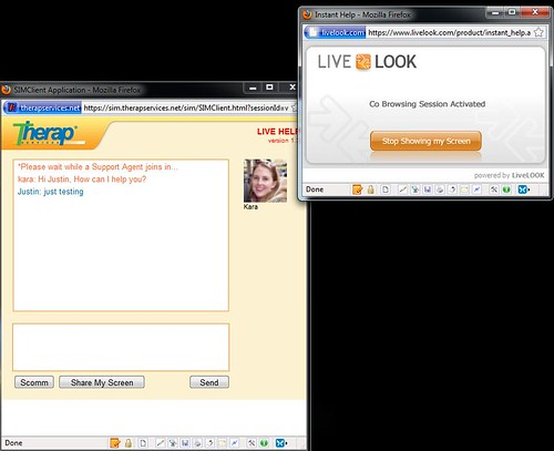 Screenshot of LiveHelp session describing how to use Share My Screen feature