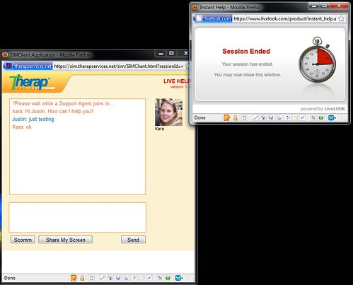 Screenshot of LiveHelp session describing how to stop Share My Screen feature