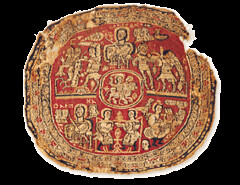 Medallion with Christ, Orpheus etc (julianna.lees) Tags: ancient silk shroud textiles sassanian doubleheaded sassanid suaire