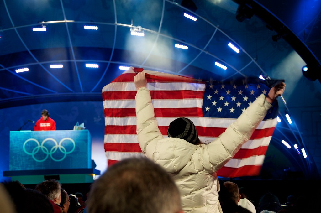 American Fan at Medal Ceremony