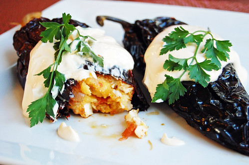 Stuffed Chile Ancho with Plantains and Crema