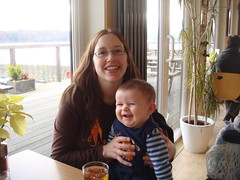 Owen and I in the coffee shop after our walk