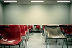 a room full of ideas (sciencesque) Tags: red orange green film vintage fuji chairs superia empty olympus retro 400 xa lecture desks universityofalberta biologicalsciences
