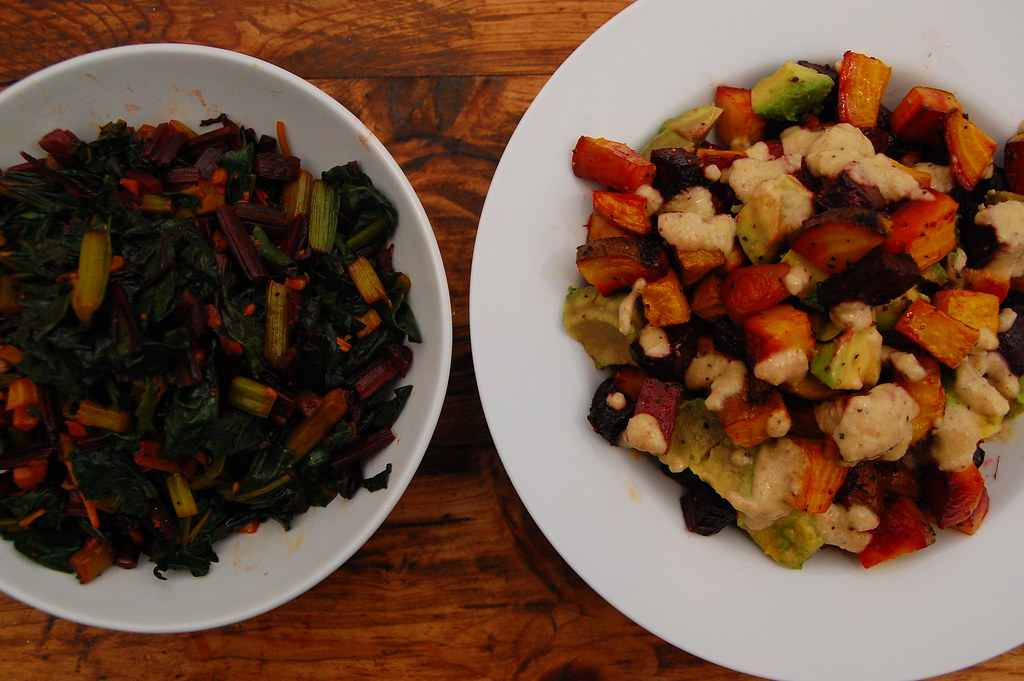 beet greens & red and gold beets with avocado