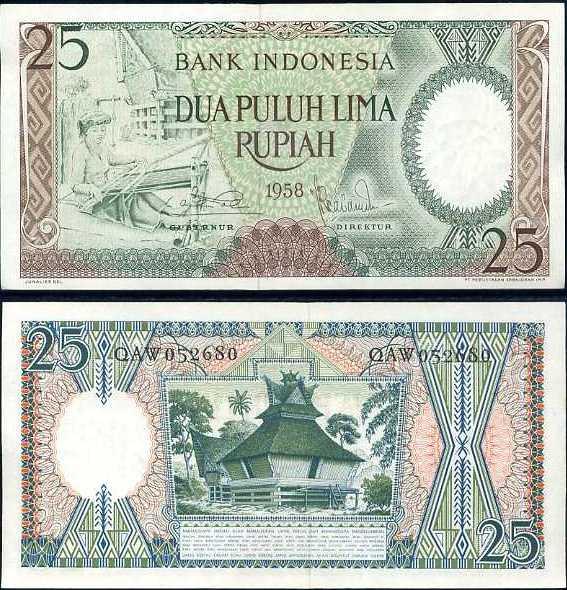 Indonézia - INDONESIA 25 RUPIAH 1958 P57