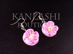 Kanzashi Earrings (Kanzashi.Boutique) Tags: flower cute japan fun japanese rainbow handmade traditional craft hobby fabric jakarta hana boutique accessories earrings tsumami hairclip colourfull kanzashi