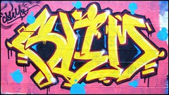 Slim (slimfaster) Tags: old school wild jaune rouge graffiti tag style bubble graff