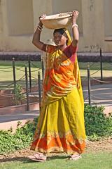 Construction worker (ejhrap) Tags: woman india yellow construction head cement worker porter saree sari jaipur carry rajasthan jantarmantar odt stuffonhead