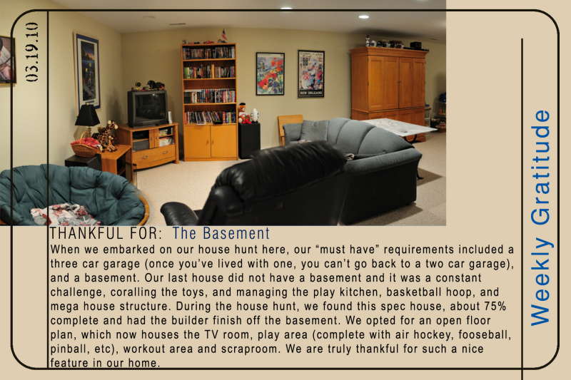 Weekly Gratitude - The Basement