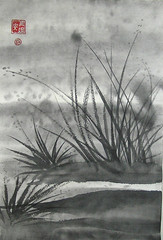 Morning Swamp (plasticpumpkin) Tags: grass reeds dark moody cloudy sinister gray stormy eerie swamp grayscale bog fen sumie chineseart