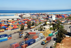 TRUCKING IN LEBANON (Claude  BARUTEL) Tags: road sea truck harbour transport eat middle beirut trucking containers lebanonmediterranean
