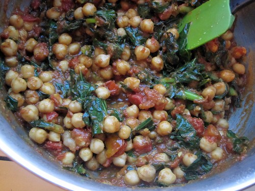 curried chickpeas and greens
